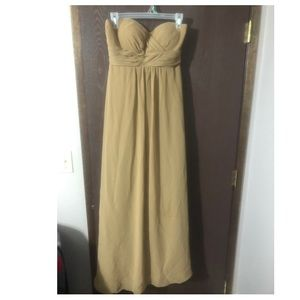 Taupe/bronze strapless gown